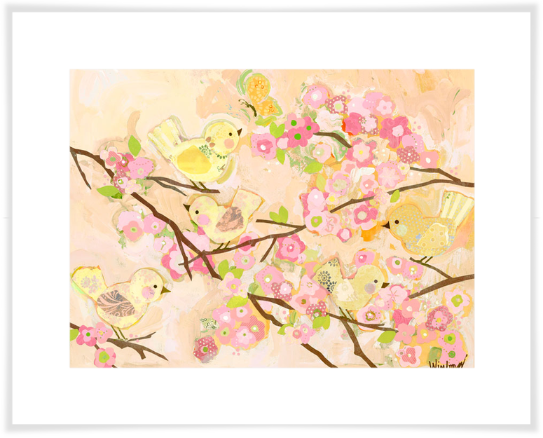 Cherry Blossom Birdies - Butter Cream, Floral Art Prints | Oopsy ...