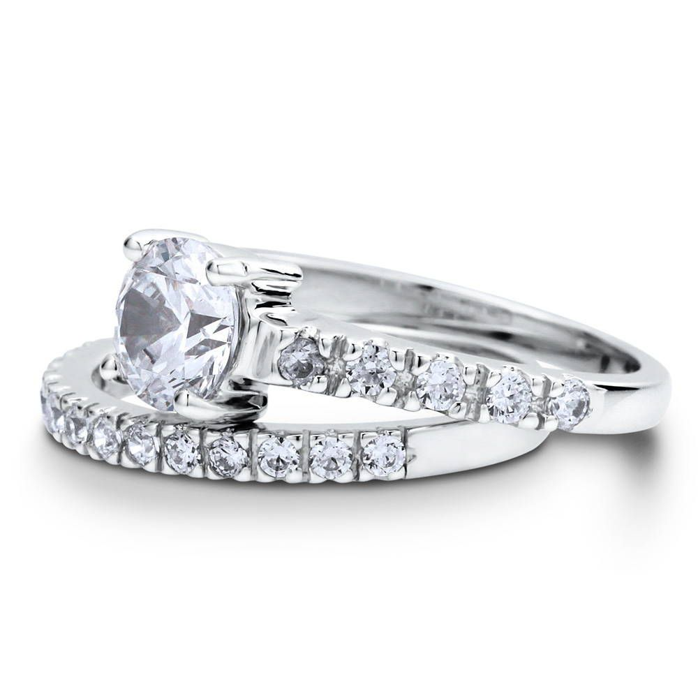 Photo of Sterling Silver Round CZ Solitaire Ring Set 1.6 CTW