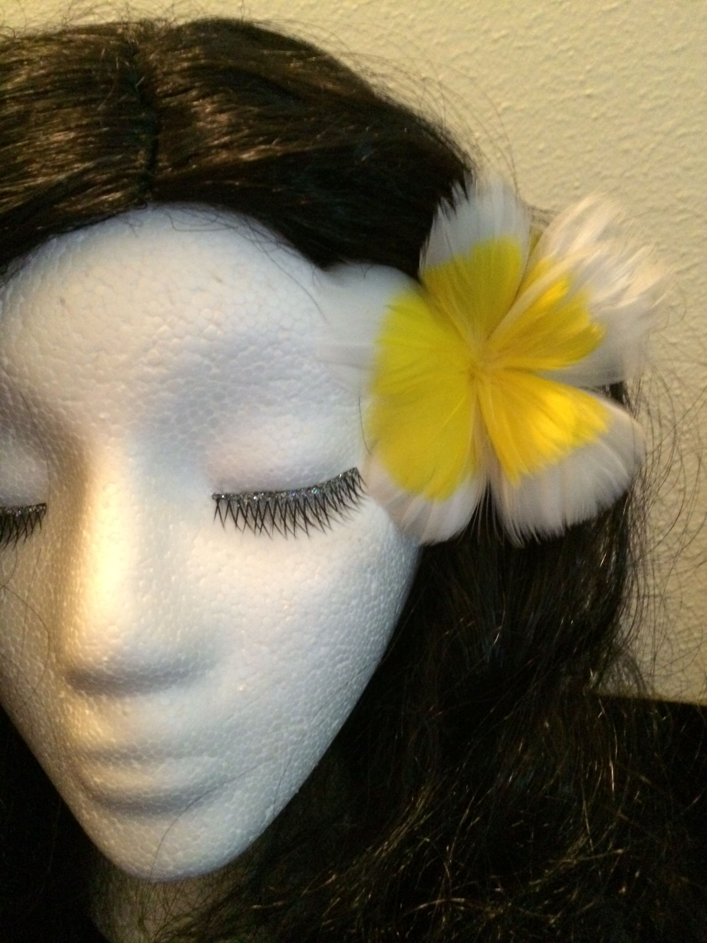 New yellow common plumeria feather flower ear pick 2000 hand crafted hawaiian style by ddcouturecreations izmirmasajfo