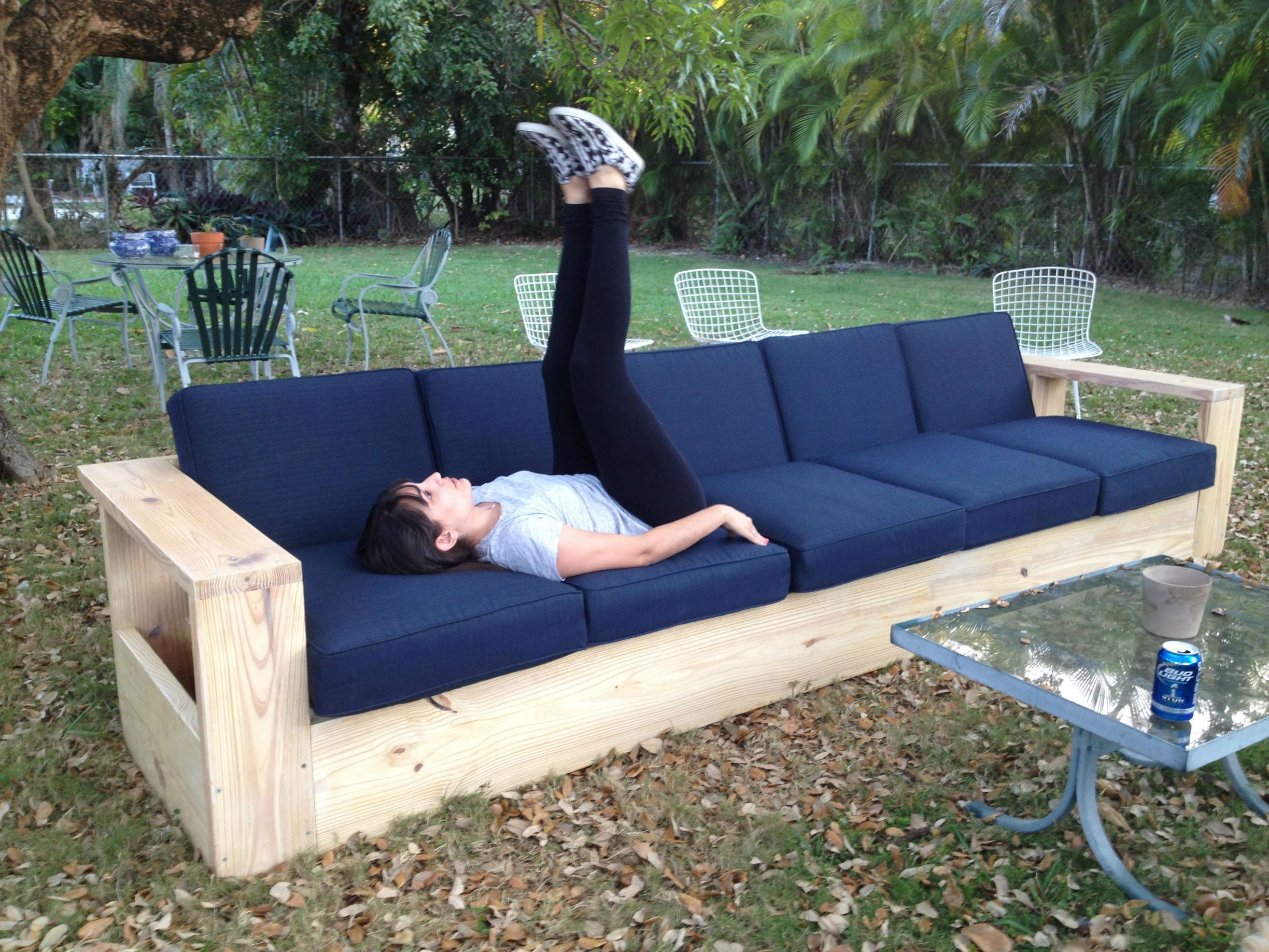 i built a very long outdoor sofa out of wood first
