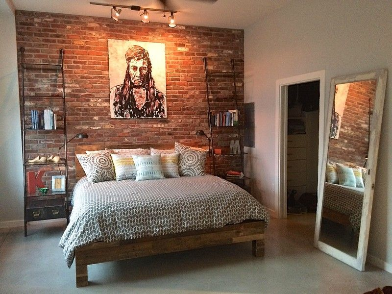 Accent wall in mill blend thin brick veneer bedroom Brick wall bedroom design