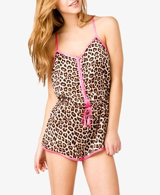 Leopard Print PJ Romper | FOREVER21 - 2023041421   http://www.forever21.com/Product/Product.aspx?BR=f21=sleepwear_womens-pajama=2023041421=