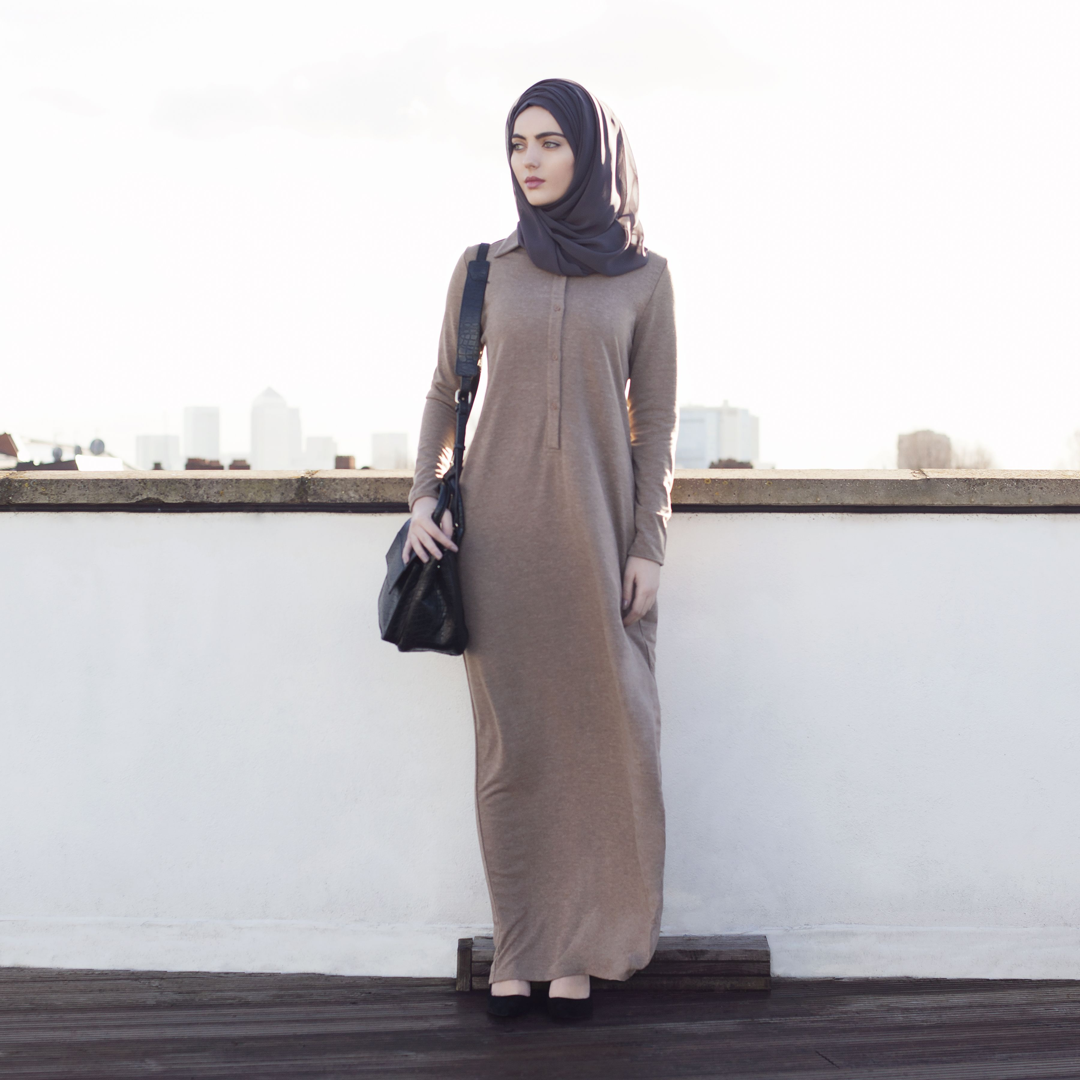 INAYAH | Wheat Textured Fall #Abaya + Charcoal Georgette #Hijab #modestfashion#modesty#modeststreestfashion#hijabfashion#modeststreetstyle#modestabayas#modestdresses www.inayahcollection.com