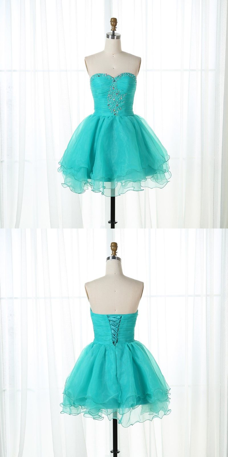 A-Line Sweetheart Lace-Up Green Organza Short Homecoming Dress with ...
