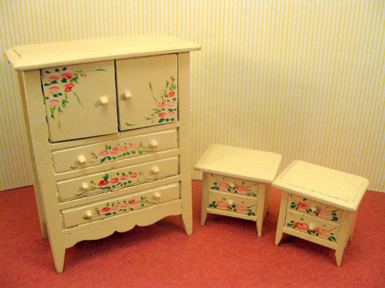 Miniature Furniture Dollhouse Bedroom Set Shabby  Inside