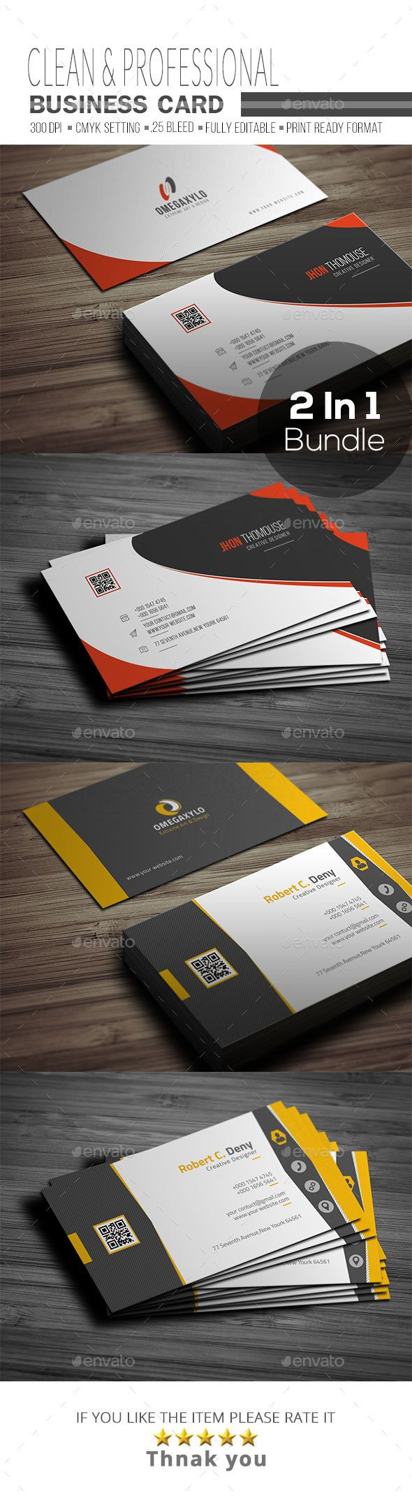 Business card bundle 2 in 1 pinterest cartes de visita visita business card bundle 2 in 1 corporate business cards download here reheart