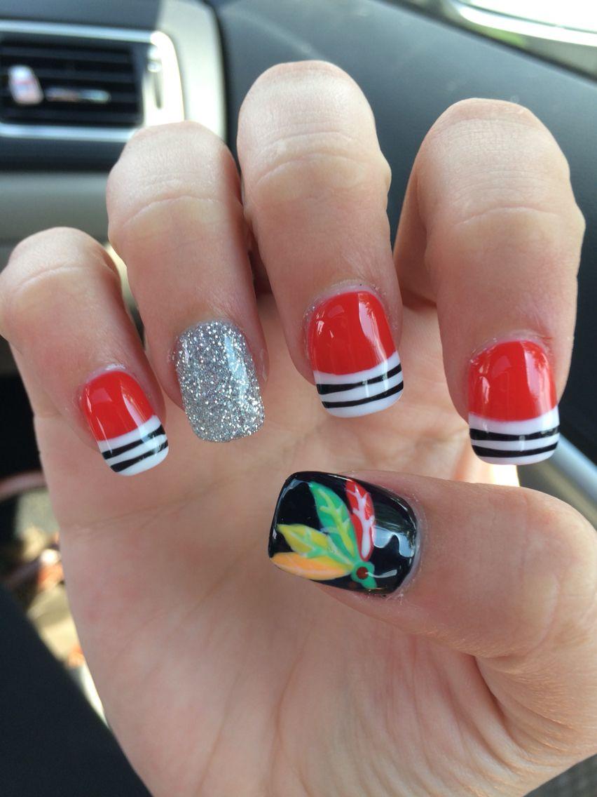 Chicago Blackhawk Nails Hair & Makeup Hockey Glitter Nail Art