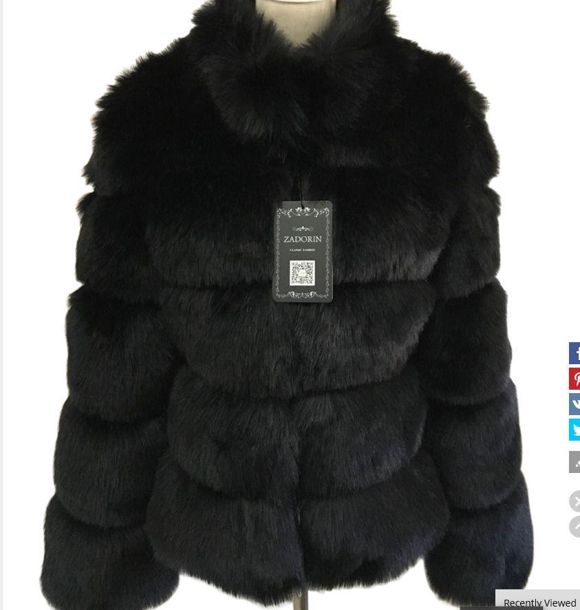 fb5d920396b83 Faux Fox Fur Coat Plus Size Women Stand Collar Long Sleeve Faux Fur Jacket  Fur g. Visit. December 2018