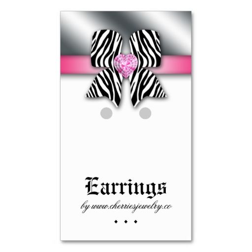 Earring display cards cute bow heart jewelry pink business card earring display cards cute bow heart jewelry pink business card templates make your own business reheart Choice Image