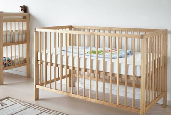 Ikea Crib Birch Natural Wood Color Crib Has 2 Different Settings For The Mattress Height And One Side Of The Crib Can Be R Ikea Crib Ikea Cot Ikea Nursery