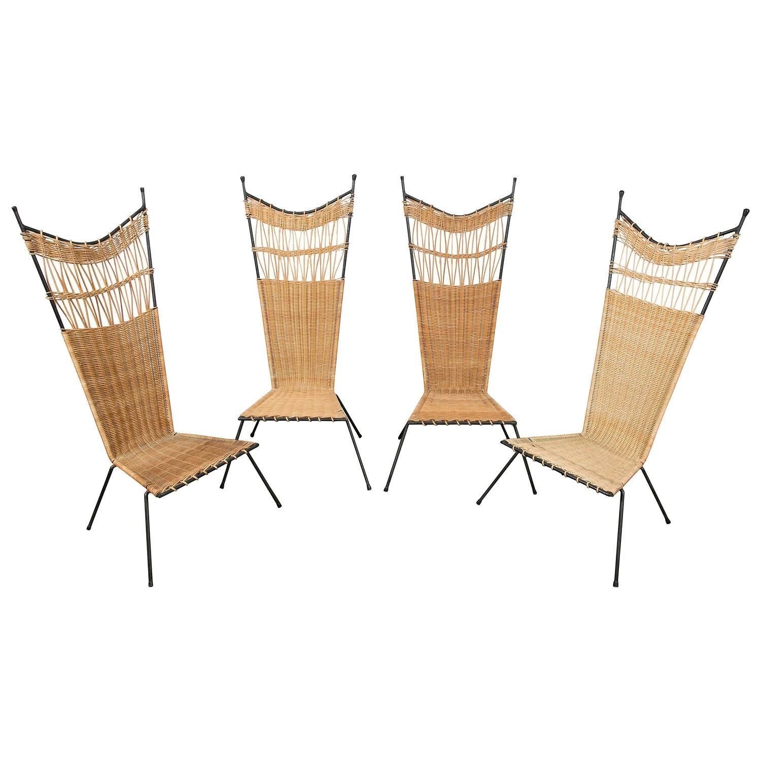 Set Of Four Metal And Wicker Slipper Chairs By Raoul Guys, France, 1950 |