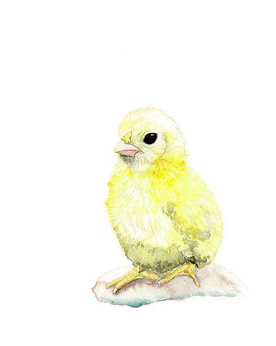 Watercolour Chick, Baby Chick, Nursery Animal Print, Farm Decor ...