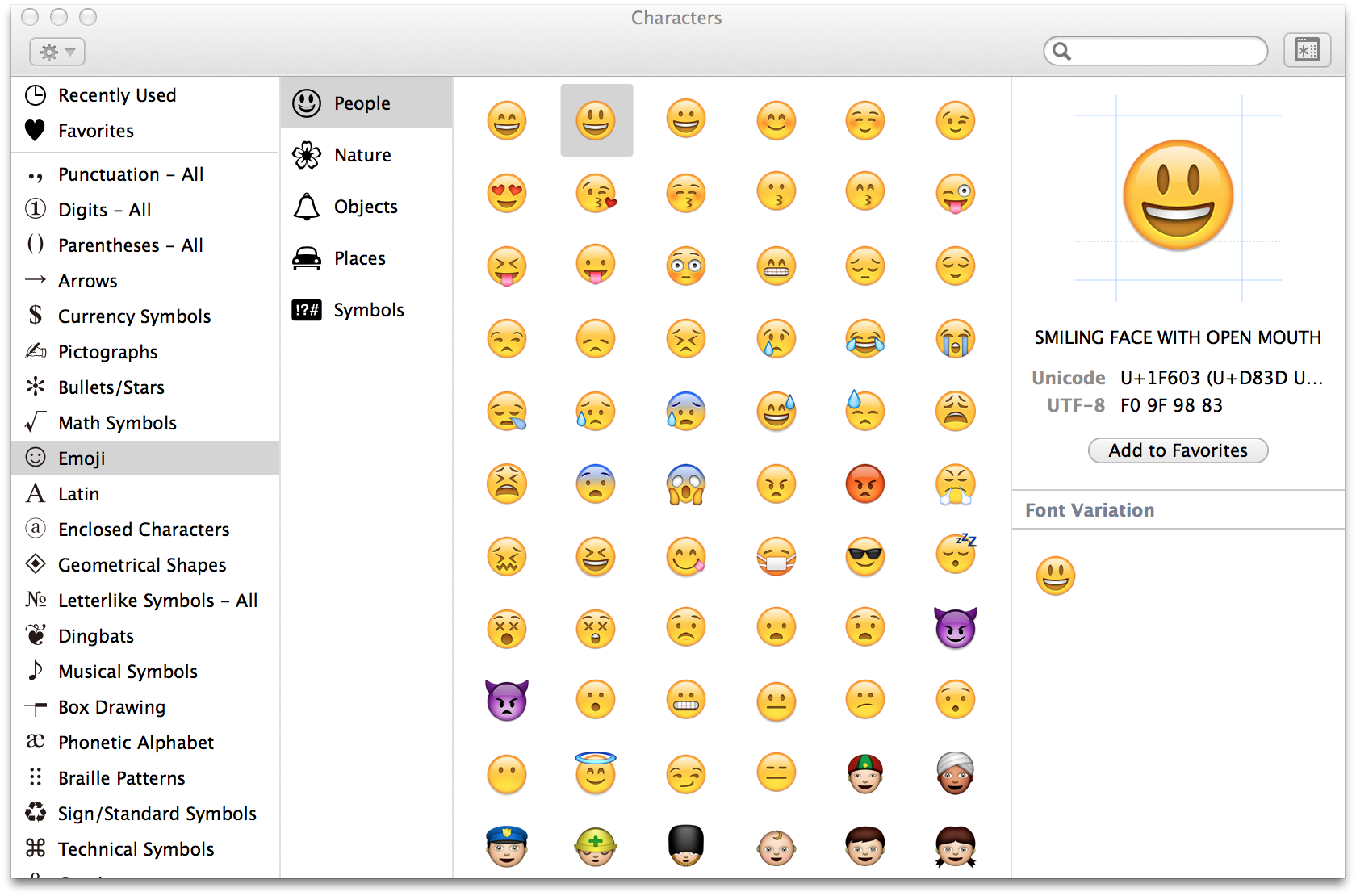 The Character Viewer In Os X Showing A Table Of Emoji And Unicode