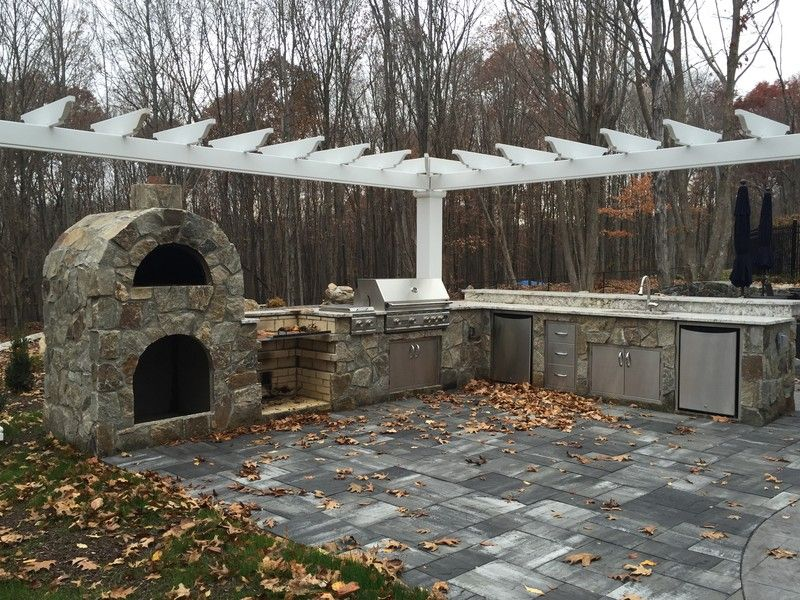 Outdoor Kitchen Designs With Pizza Oven Outdoor Kitchen With All Of The Bells And Whistlespizza Oven