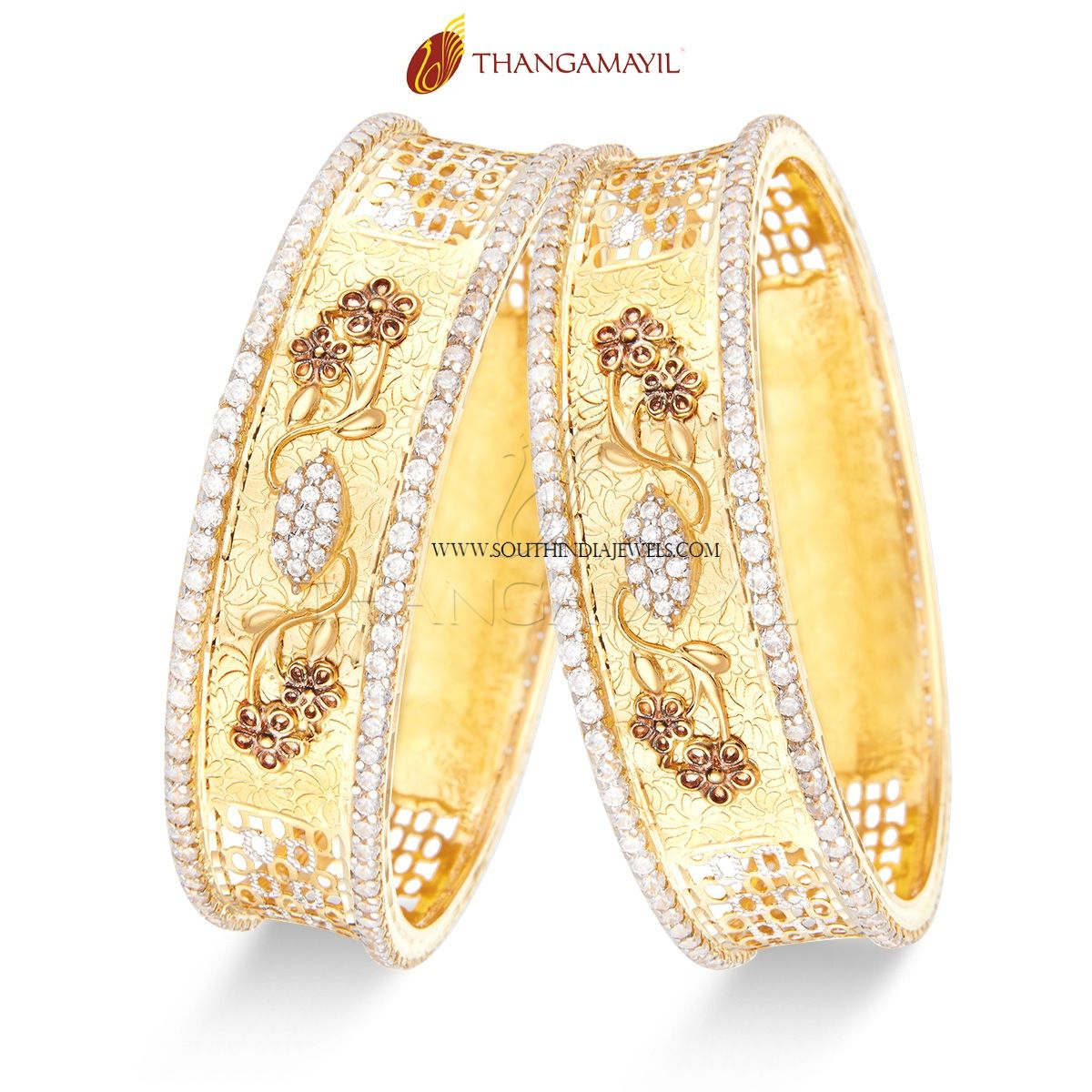 Gold Stone Bangles from Thangamayil Jewellery | Bangle, Stone and ...