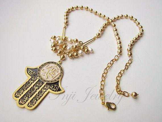 Gold hamsa hand necklace big black and gold hamsa pendant islamic gold hamsa hand necklace big black and gold hamsa pendant islamic hand necklace aloadofball Choice Image