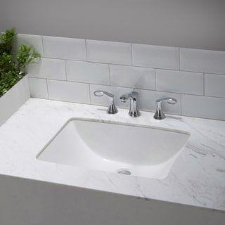 Kraus Elavo Square Ceramic Undermount Bathroom Sink In White