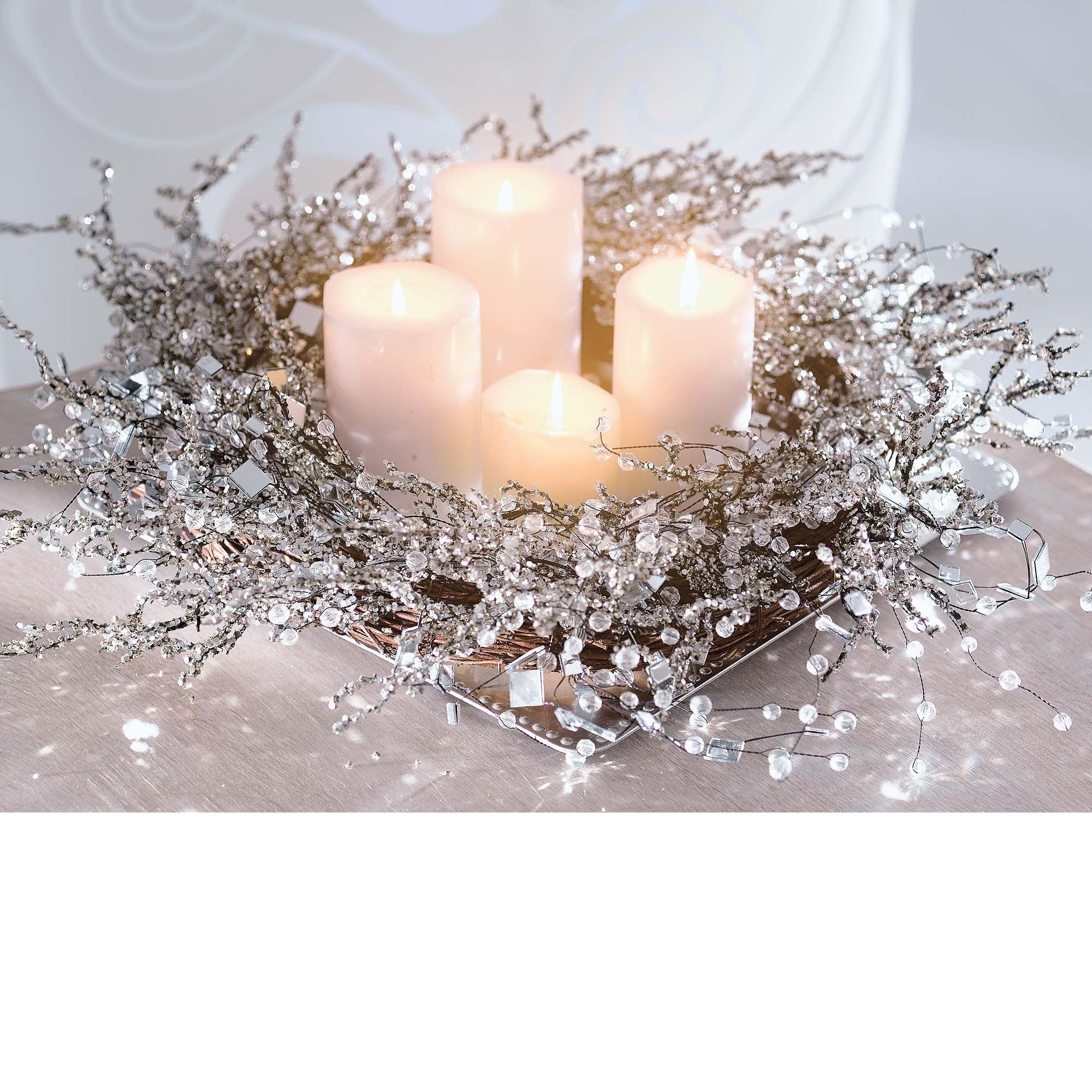 Centrotavola Natalizi Amazon.Ghirlanda Decorativa Snowglitter Ornata Di Cristalli Ca 50cm O