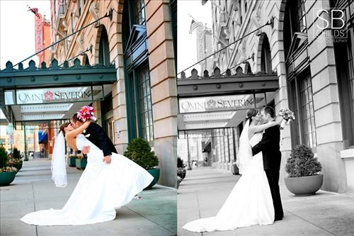 A couple and their wedding at the Omni Severin Hotel in Indianapolis, Indiana