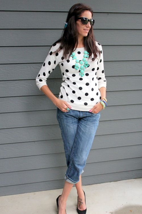 polka dot sweater, and a bubble necklace