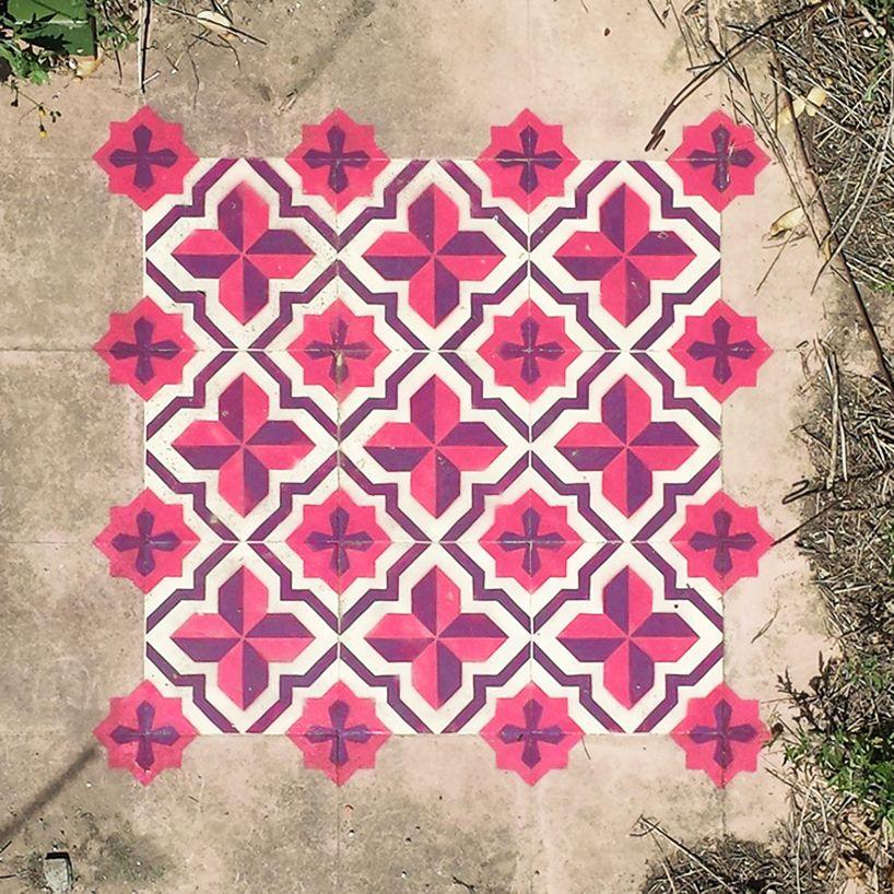 Javier De Riba Paints Patterned Tiles Onto Floors Of Abandoned Urban Spaces Painted Floors Tile Patterns Geometric Tiles