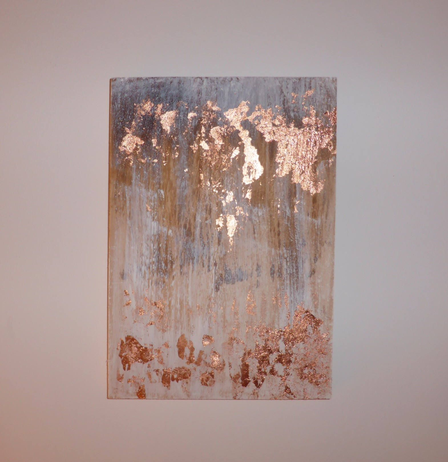Oil Paint With Copper Leaf On Wood Brown White Rose Gold Colored