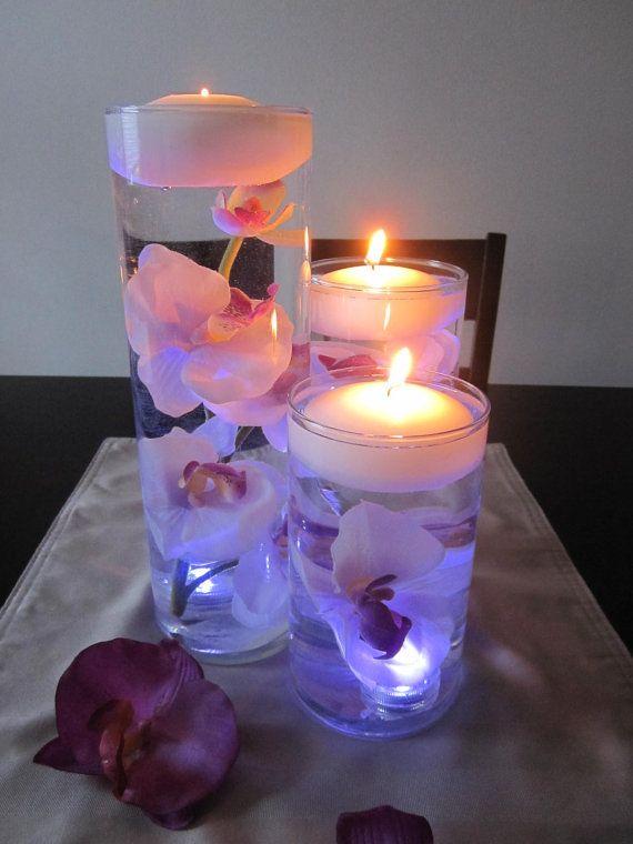 White Purple Orchid Floating Candle Wedding Centerpiece Kit Led