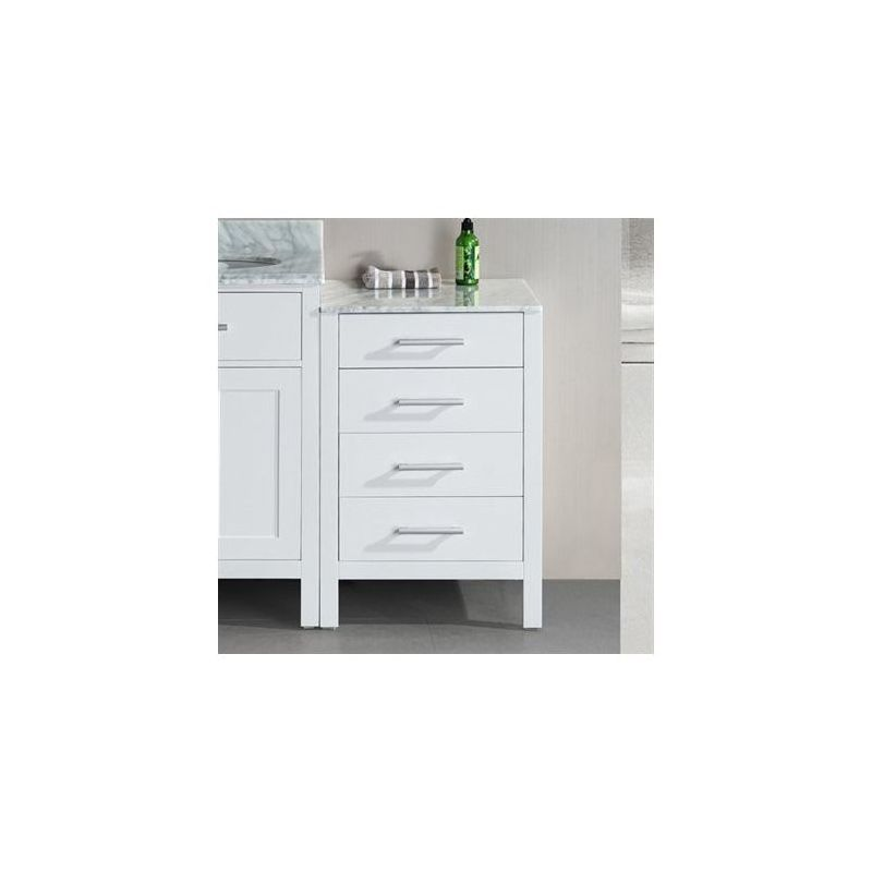 """Design Element DEC076MCAB London 20"""" Side Cabinet with Four Drawers and Marble T White Fixture Vanity Side Cabinet"""