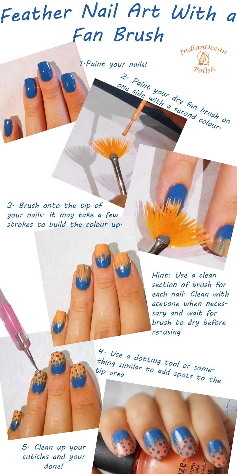Indian Ocean Polish: Spotted Feather(?) Nail Art With a Fan Brush ...