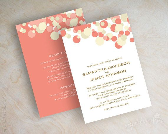 Coral And Ivory Polka Dot Wedding Invitations Coral And Ivory