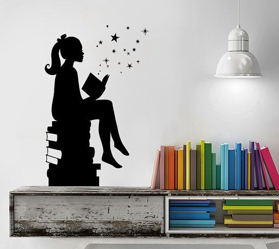 Girl Reading Books Magic Wall Decal Vinyl Art Stickers For - Vinyl wall decals books
