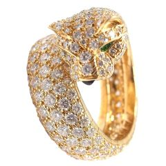 Cartier Panther Diamond Ring with Yellow Gold, Emerald and Onyx