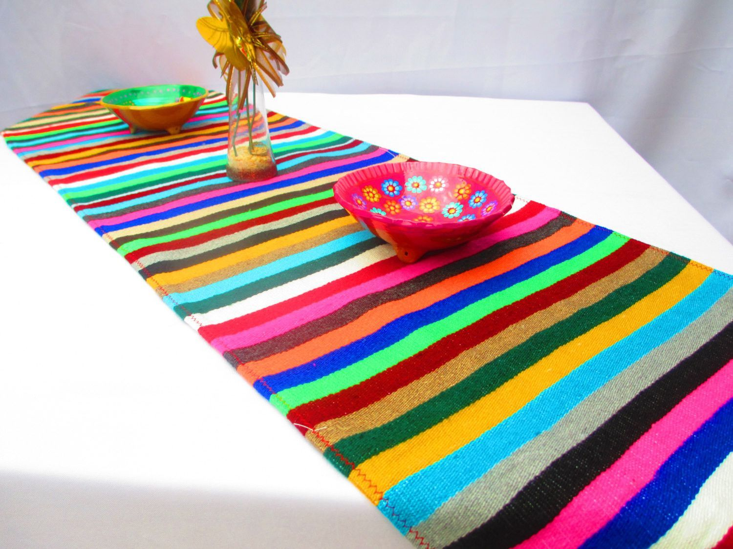 Mexican Table Runner, Authentic Serape Fabric Table Cloth From Mexico Multi  Color Bohemian Decor