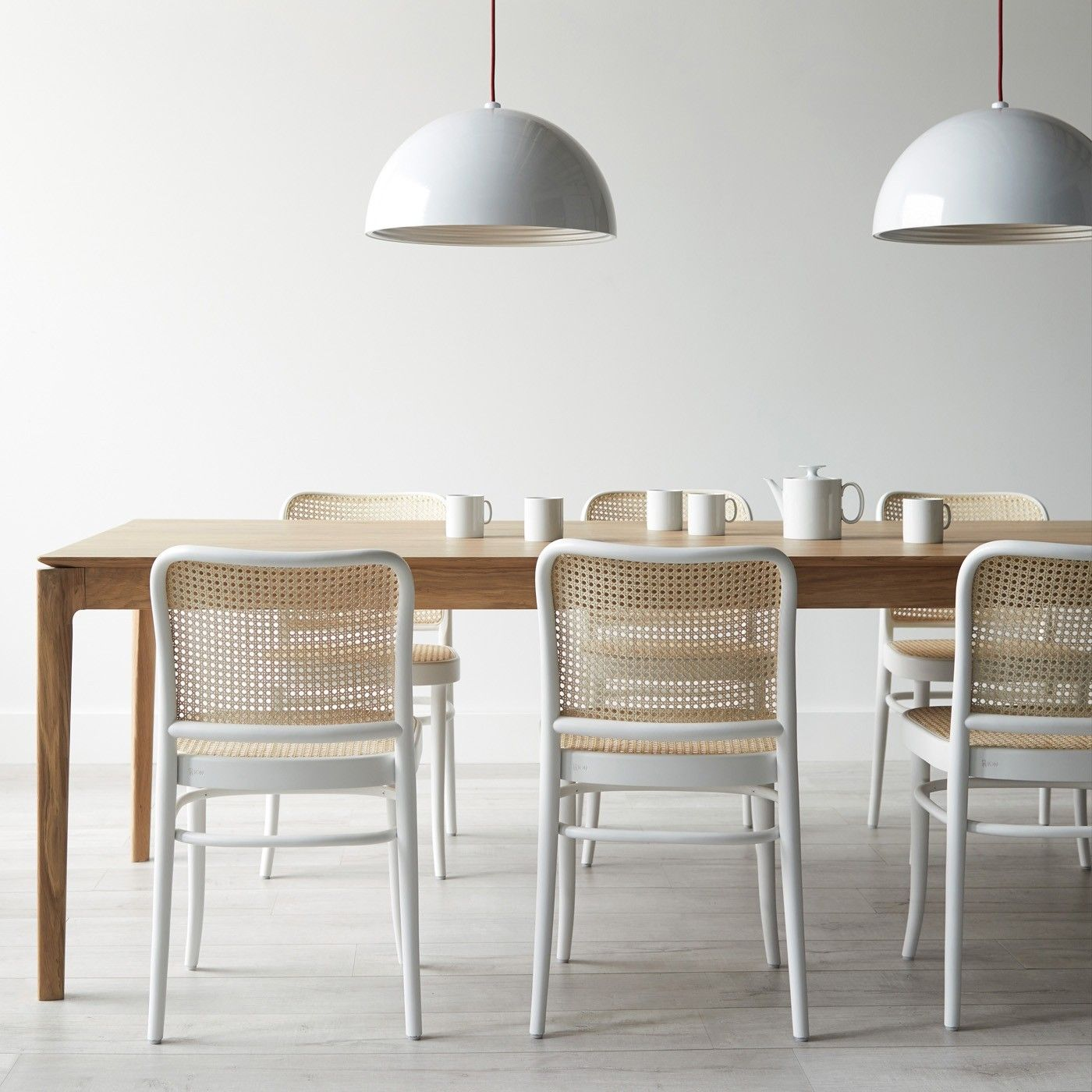 811 White Side Chair Rattan Dining Chairs Oak Dining Table