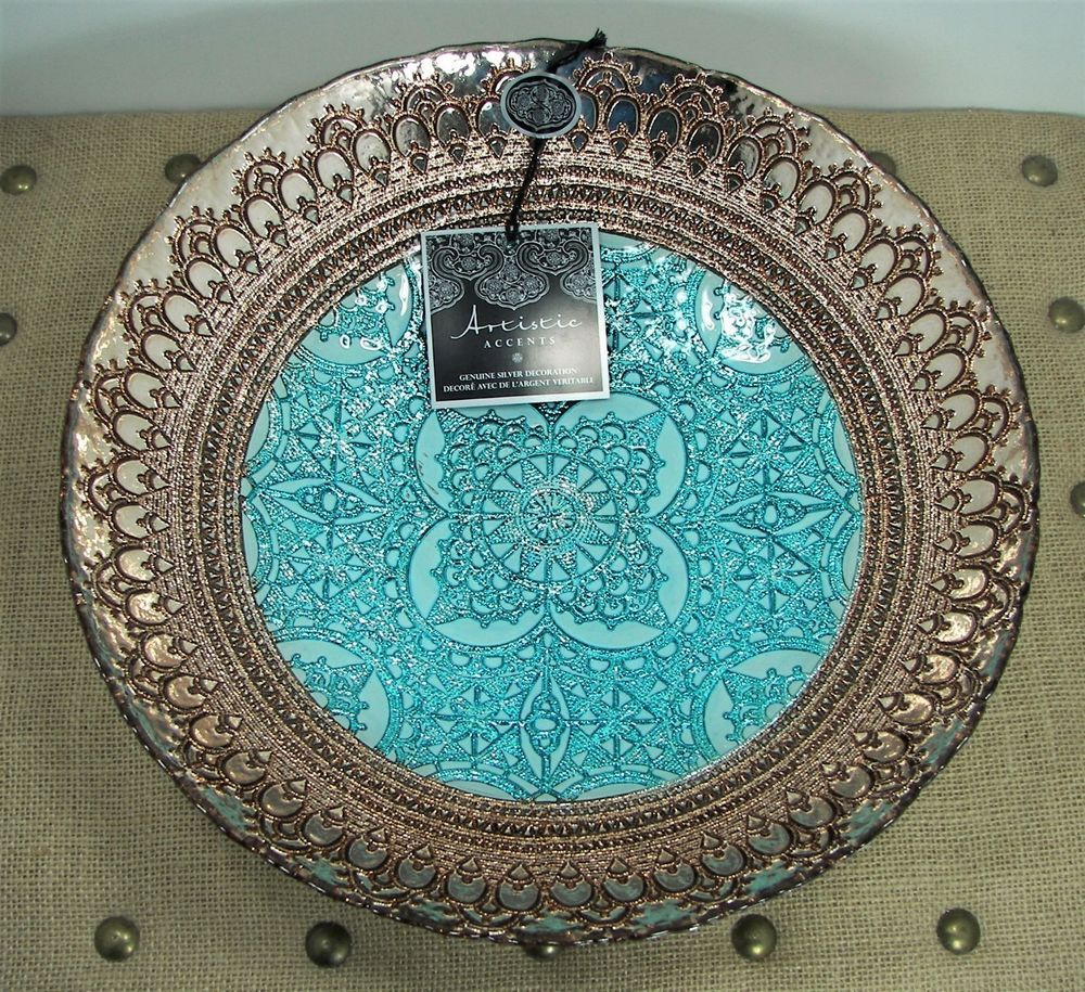 Artistic accents blue copper turkish glass bowl genuine