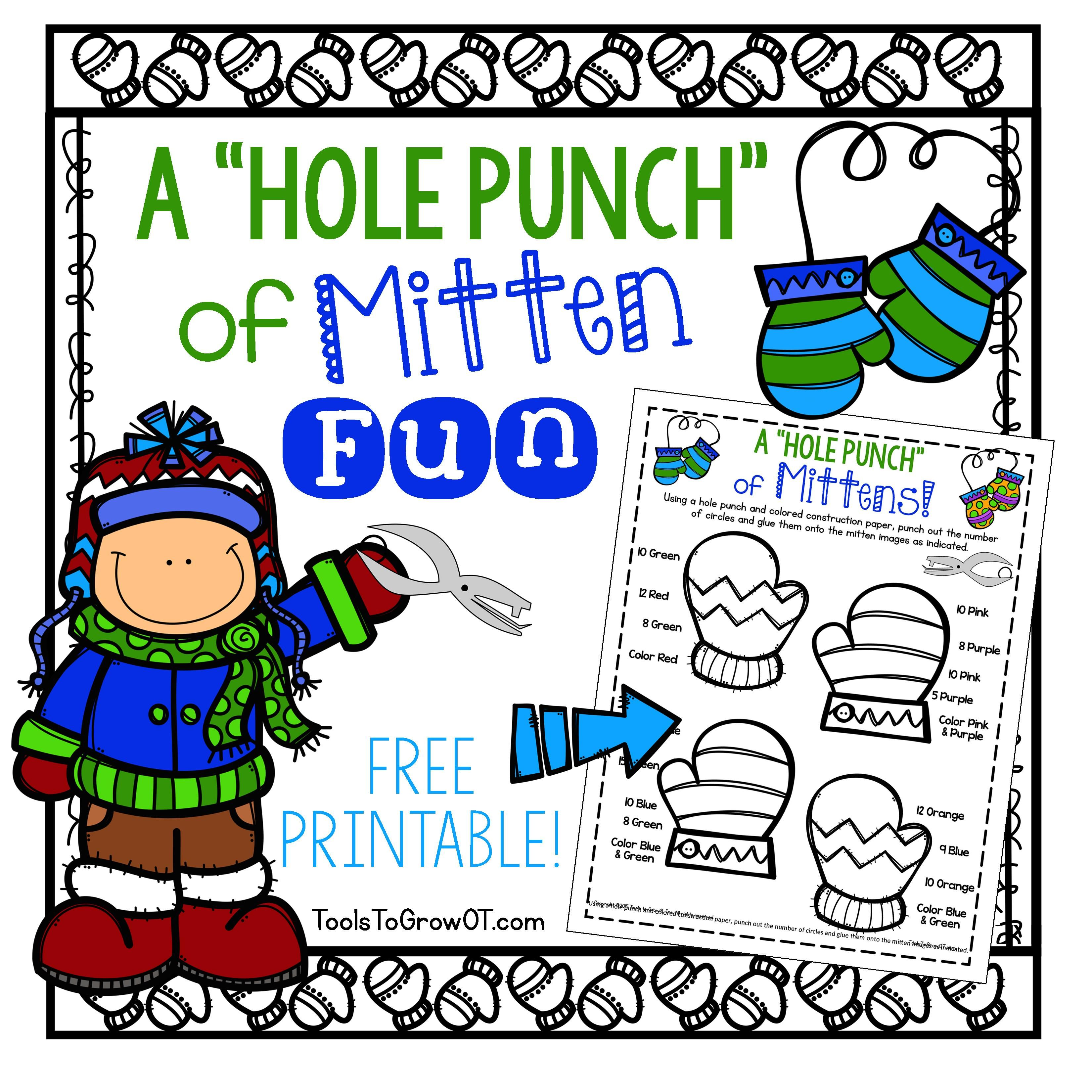 Free Printable A Hole Punch Of Mitten Fun