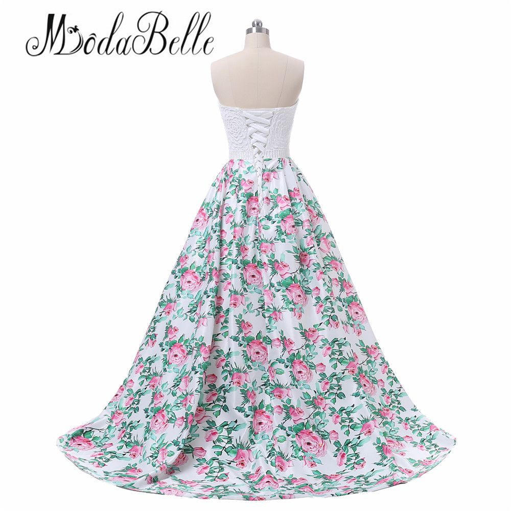 Modabelle floral print pink long prom evening dress women vestidos