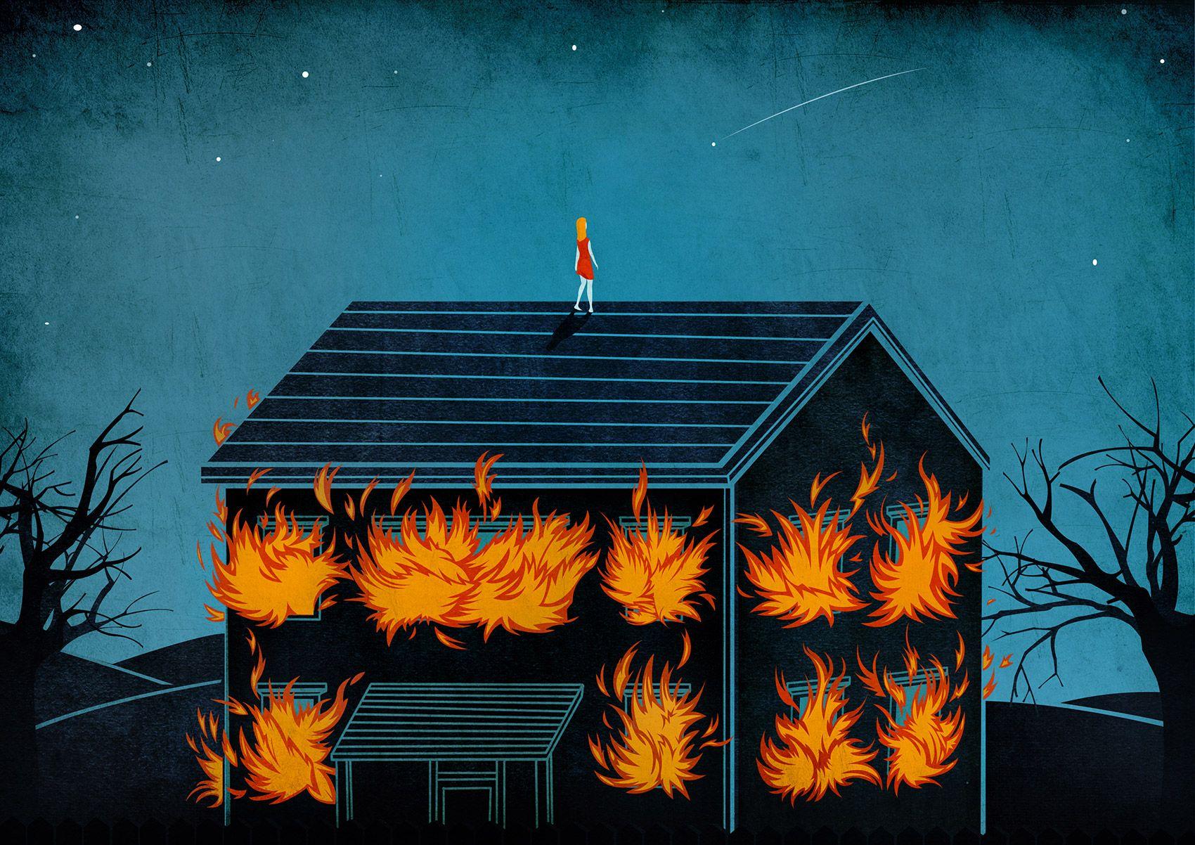 Burning down the house © Benedetto Cristofani, all right reserved  #illustration #editorial #editorialillustration #conceptual #conceptualillustration #freedom #psychology #dream www.benedettocristofani.net