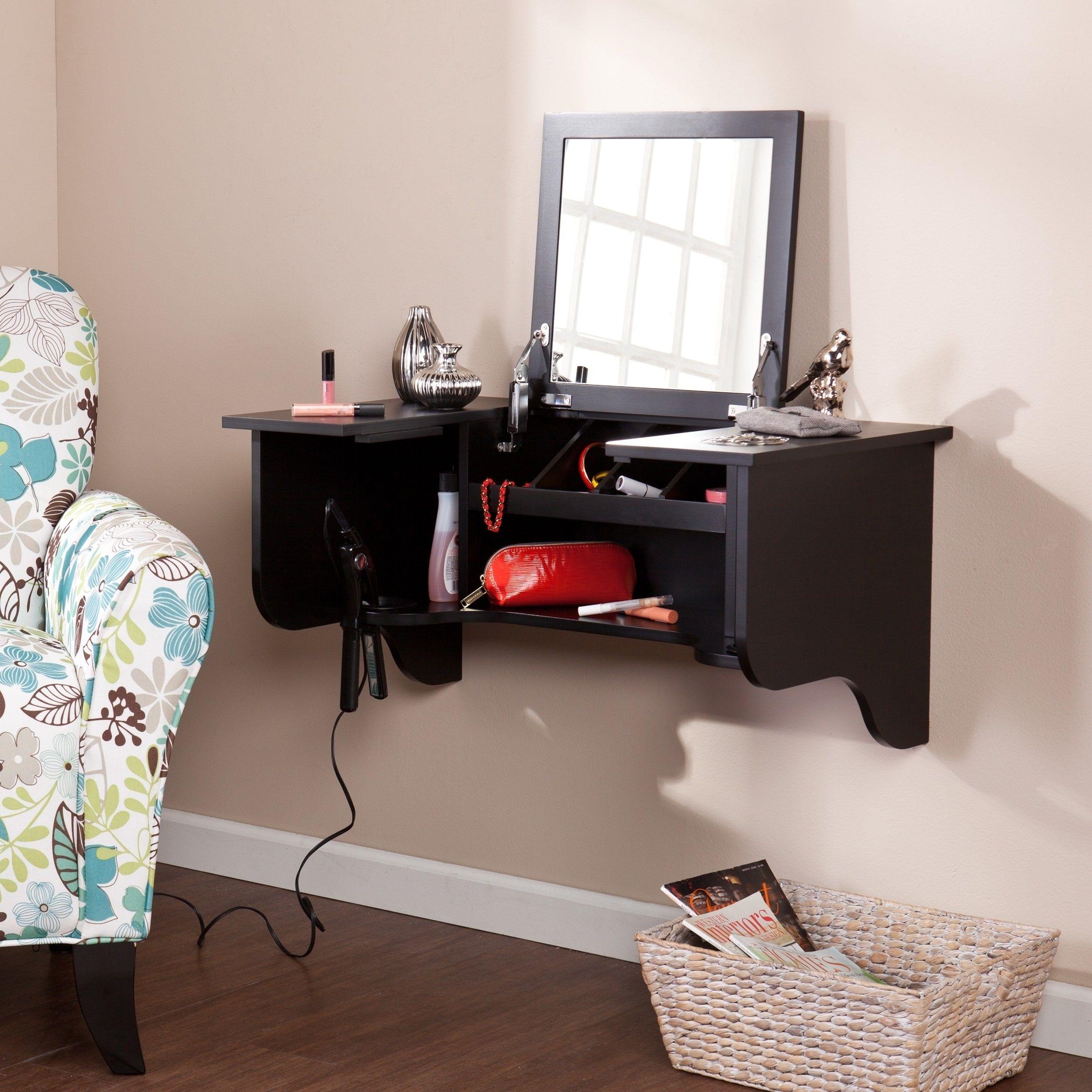 Harper Blvd Black Wall Mount Ledge With Vanity Mirror In