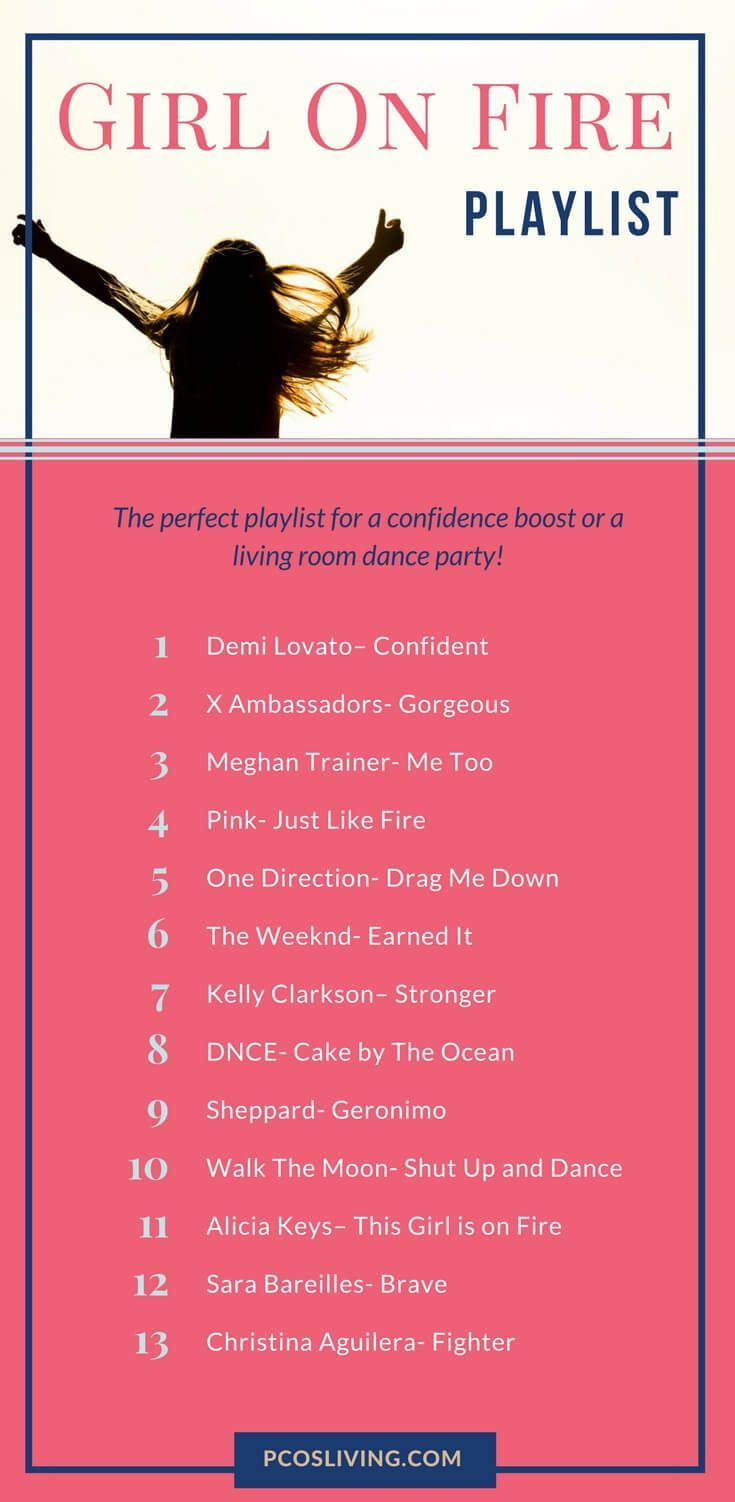 PCOS Playlist Vol. 2 : These 13 jams will keep you feeling confident and empowered this month. // Confidence Boosting Playlist // Dance Playlist // Mood Boosting Playlist // Workout Playlist | PCOSLiving.com #pcosliving #playlist #music