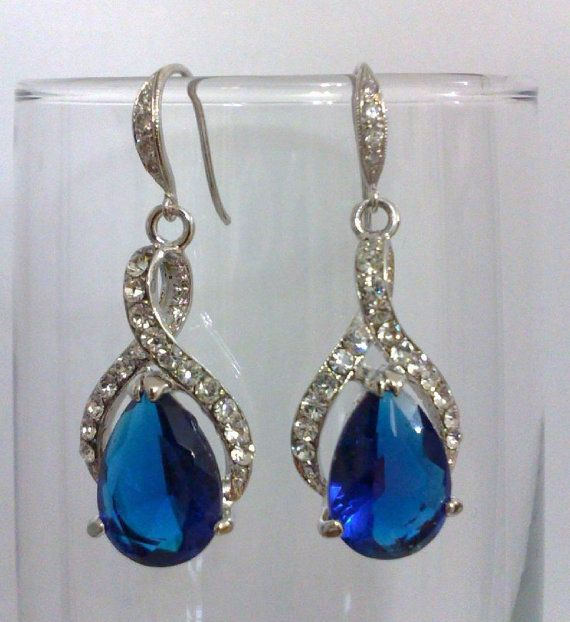 Something Blue Bridal Earrings Sapphire Wedding Jewelry Blue