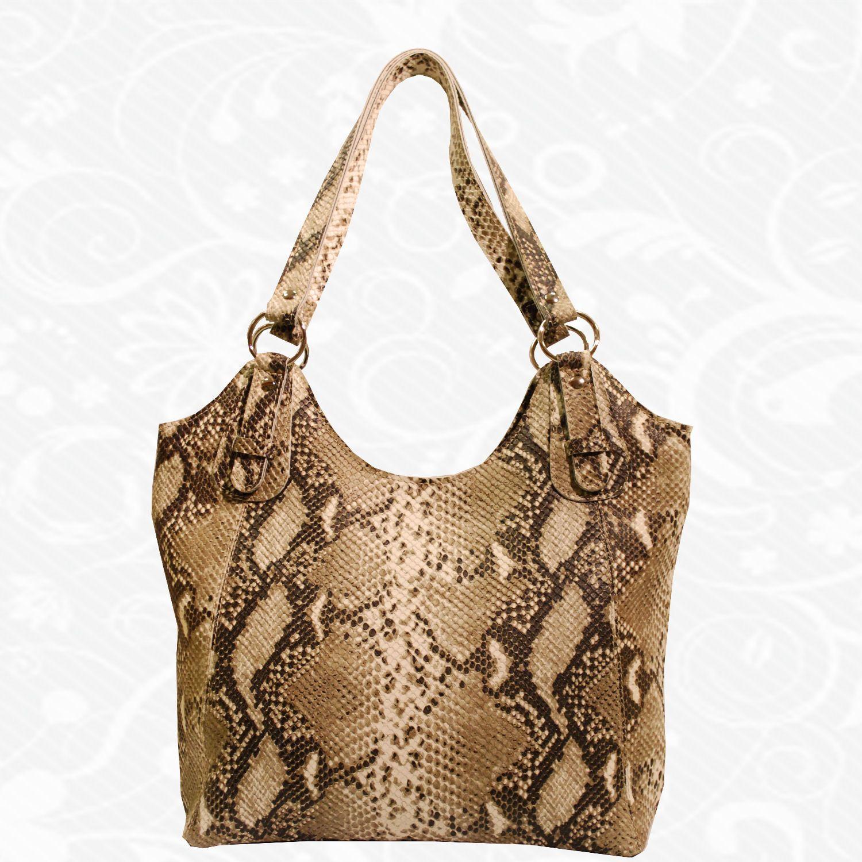 26890f9cd1 Moderná kožená kabelka so vzorom Pytóna vyrobená z pravej prírodnej kože.  Elegantná lesklá kabelka cez