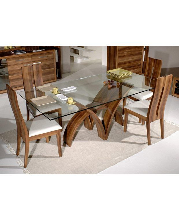 Dream Furniture Teak Wood 6 Seater Luxury Rectangle Glass Top Dining - Glass-topped-dining-room-tables