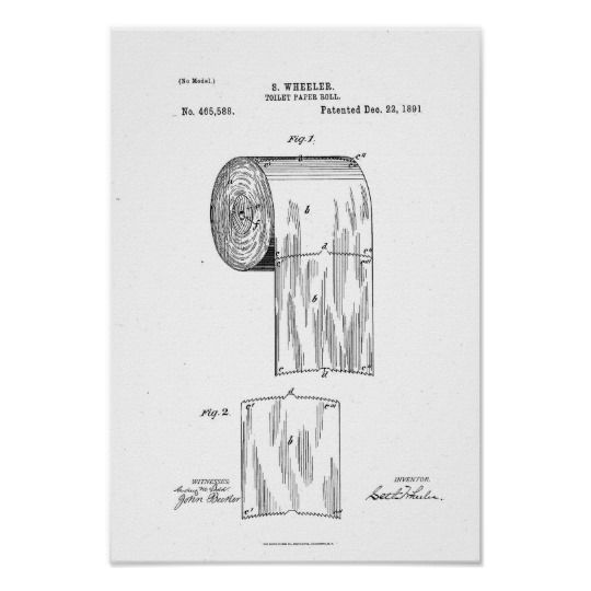 Toilet Paper Roll Patent Print White Poster Zazzle Com Toilet Paper Patent Print Toilet Paper Patent Patent Art Prints