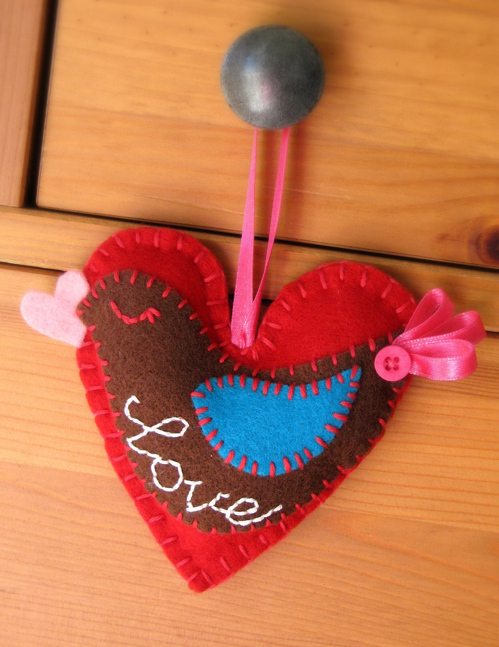 Felt Bird Heart that I made with the word Love