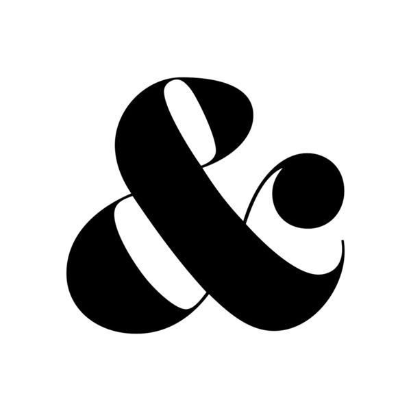 Ampersand Cushion in black and white Art Print