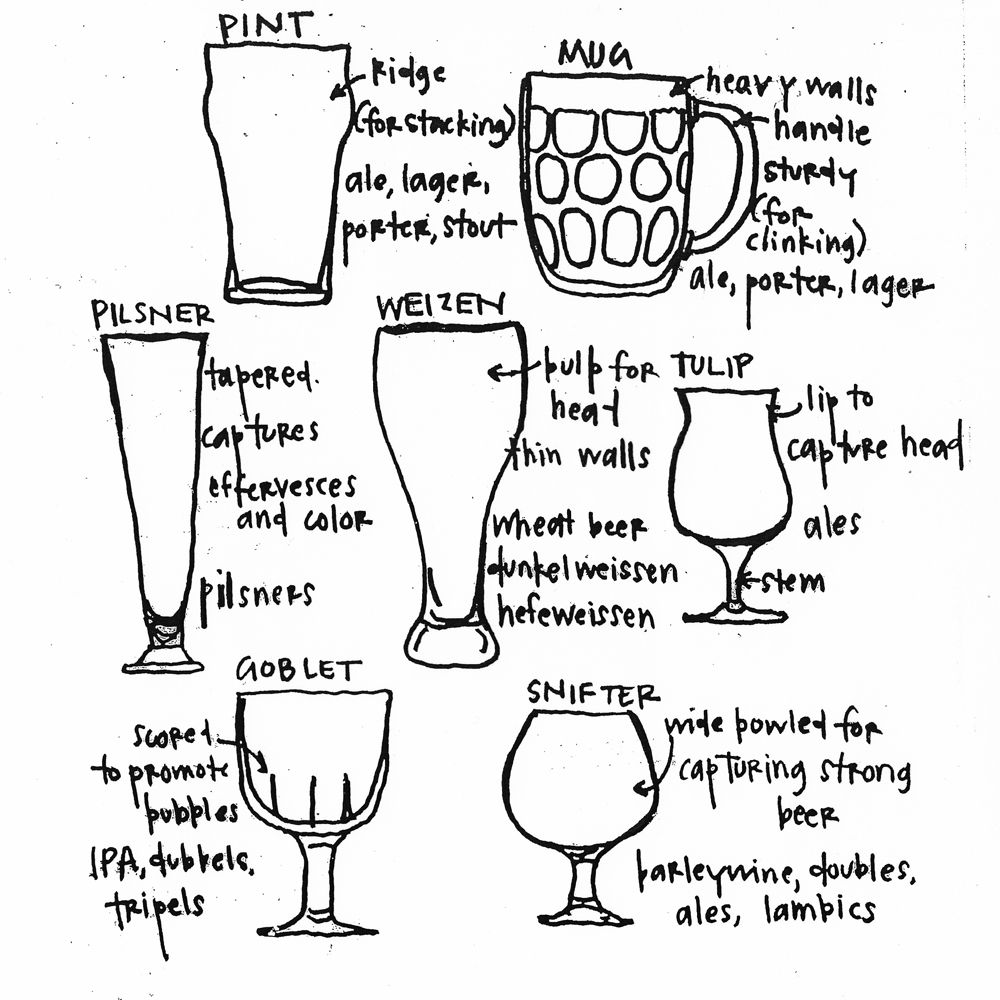 Love this look sketch of different types of beer glasses