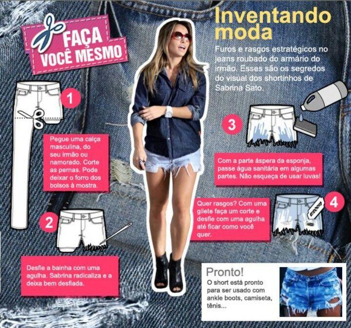 Quer rasgar seu jeans  Transformar aquela calça q usa pouco em um short  super rasgado e descolado  Ta esperando oq fia  segue esse tutorial ai! 6443d1a6c4