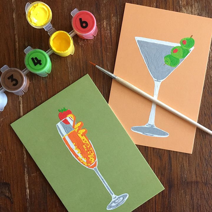 Classic Cocktails, Paint by Number Postcards by Robert Mahar for Knock Knock