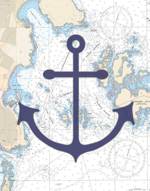 navy anchor art panel - anchor wall decor - nautical art- 11\
